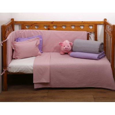 Κουβέρτα Κούνιας Πικέ 115x155 - AnnaRiska - Michelle - Blush Pink | Κουβερτούλες | DressingHome