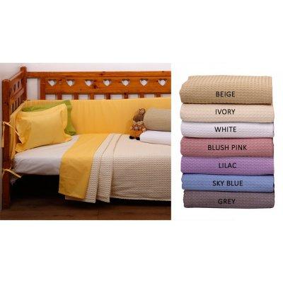 Κουβέρτα Κούνιας Πικέ 115x155 - AnnaRiska - Michelle - Λευκή | Κουβερτούλες | DressingHome
