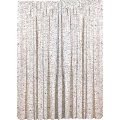Κουρτίνα με τρέσα 270x270 - Viopros - Λονέτα Εμπριμέ - Άλγεβρα Λευκό | Κουρτίνες | DressingHome