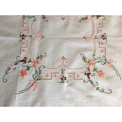 Καρέ κεντητό χειροποίητο 85x85 - DressingHome - 17602 - Σομόν | Τραπεζομάντηλα | DressingHome