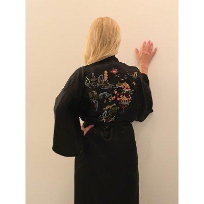 Ρόμπα Σατέν Μεταξωτή - Κιμονό Large - DressingHome - Παγόδα - Μαύρο | Κιμονό | DressingHome