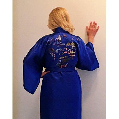 Ρόμπα Σατέν Μεταξωτή - Κιμονό Large - DressingHome - Παγόδα - Μπλε | Κιμονό | DressingHome