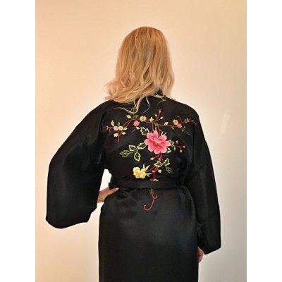 Ρόμπα Σατέν Μεταξωτή - Κιμονό Large - DressingHome - Τριαντάφυλλο - Μαύρο | Κιμονό | DressingHome