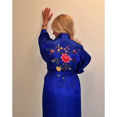 Ρόμπα Σατέν Μεταξωτή - Κιμονό Large - DressingHome - Τριαντάφυλλο - Μπλε | Κιμονό | DressingHome