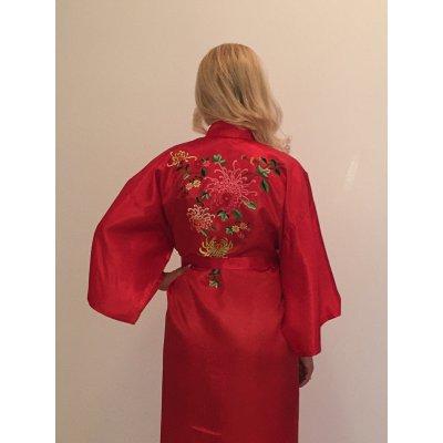 Ρόμπα Σατέν Μεταξωτή - Κιμονό Large - DressingHome - Χρυσάνθεμο - Κόκκινο | Κιμονό | DressingHome