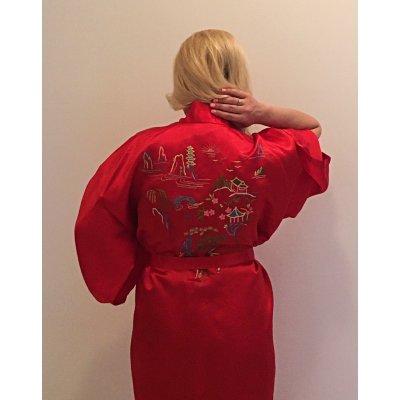 Ρόμπα Σατέν Μεταξωτή - Κιμονό Medium - DressingHome - Παγόδα - Κόκκινο | Κιμονό | DressingHome
