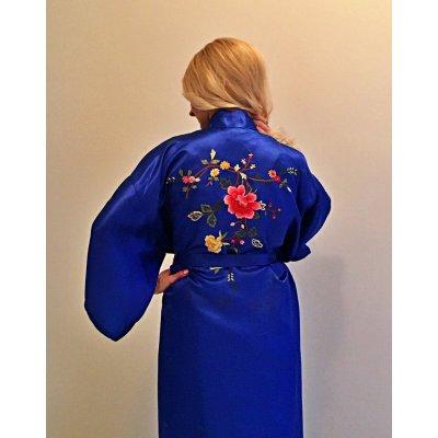 Ρόμπα Σατέν Μεταξωτή - Κιμονό Medium - DressingHome - Τριαντάφυλλο - Μπλε | Κιμονό | DressingHome