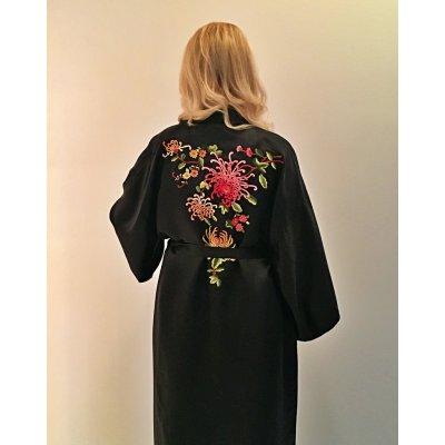 Ρόμπα Σατέν Μεταξωτή - Κιμονό Medium - DressingHome - Χρυσάνθεμο - Μαύρο | Κιμονό | DressingHome