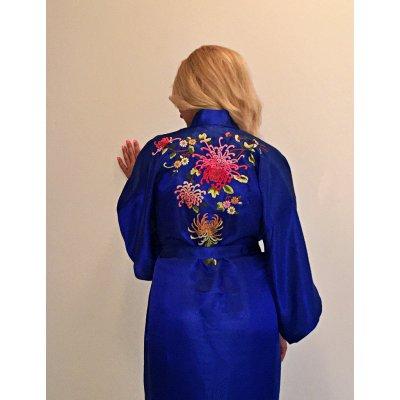 Ρόμπα Σατέν Μεταξωτή - Κιμονό Medium - DressingHome - Χρυσάνθεμο - Μπλε | Κιμονό | DressingHome