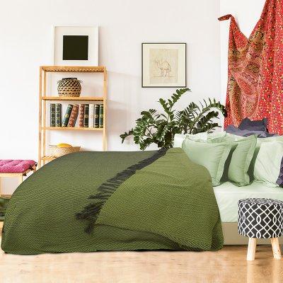 Κουβέρτα ζακάρ με κρόσια Υπέρδιπλη Πικέ 230x260 - Das Home - Blanket Line - 0343 | Κουβέρτες | DressingHome