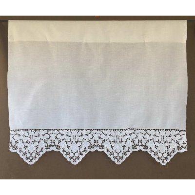 Κουρτίνα Έτοιμη Λινή Κοφτή Κεντητή Χειροποίητη 100x110 - DressingHome - Σκιάθος | Κουρτίνες | DressingHome