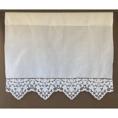 Κουρτίνα Έτοιμη Λινή Κοφτή Κεντητή Χειροποίητη 100x80 - DressingHome - Σκιάθος | Κουρτίνες | DressingHome