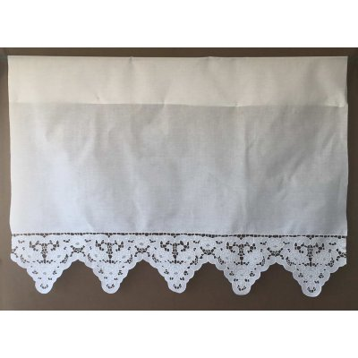 Κουρτίνα Έτοιμη Λινή Κοφτή Κεντητή Χειροποίητη 116x110 - DressingHome - Κάρπαθος | Κουρτίνες | DressingHome