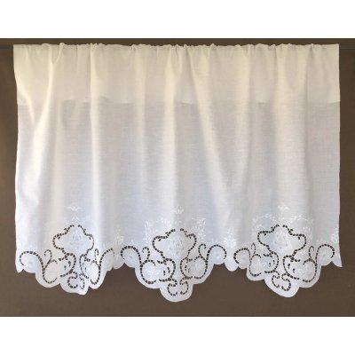 Κουρτίνα Έτοιμη Λινή Κοφτή Κεντητή Χειροποίητη 132x110 - DressingHome - Σύρος | Κουρτίνες | DressingHome