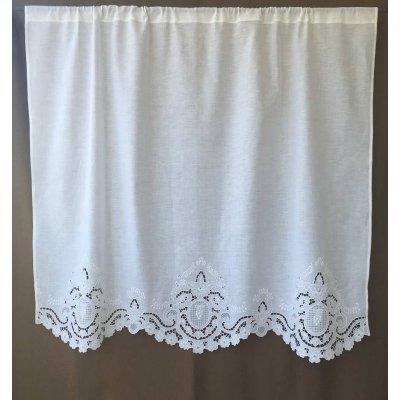 Κουρτίνα Έτοιμη Λινή Κοφτή Κεντητή Χειροποίητη 135x110 - DressingHome - Άμπελος | Κουρτίνες | DressingHome