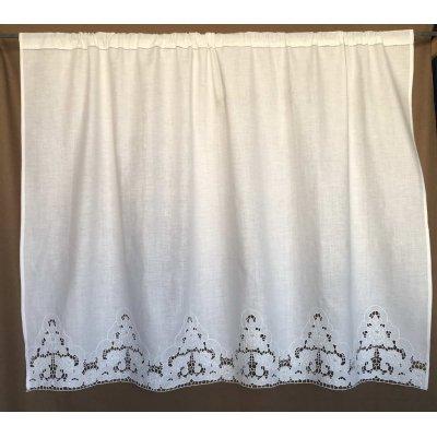 Κουρτίνα Έτοιμη Λινή Κοφτή Κεντητή Χειροποίητη 147x80 - DressingHome - Ικαρία | Κουρτίνες | DressingHome