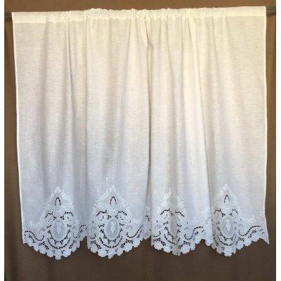 Κουρτίνα Έτοιμη Λινή Κοφτή Κεντητή Χειροποίητη 180x80 - DressingHome - Άμπελος | Κουρτίνες | DressingHome