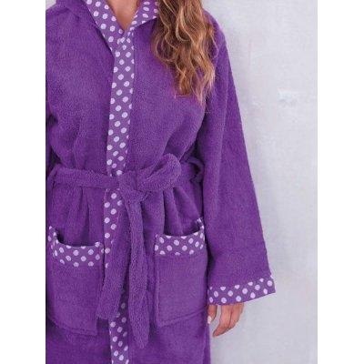 Μπουρνούζι με κουκούλα Large - Palamaiki - Dots - Orchid | Μπουρνούζια | DressingHome