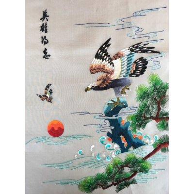 Πίνακας Διακοσμητικός χωρίς κορνίζα Μεταξωτός Κεντημένος Χειροποίητος 37x59 - DressingHome - Αετός 01 | Προσφορές - Σαλόνι Τραπεζαρία | DressingHome
