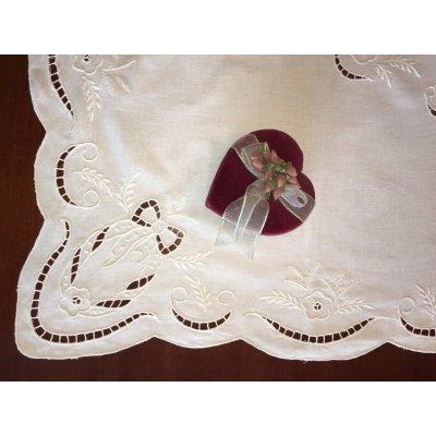 Σετ Καρέ κεντητό με 4 πετσέτες 85x85 - DressingHome - C1871W | Τραπεζομάντηλα | DressingHome