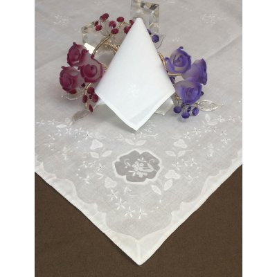 Σετ Καρέ Λινό κεντητό με 4 πετσέτες 85x85 - DressingHome - 7555/5 - Λευκό | Καρέ - Τραπεζοκαρέ | DressingHome