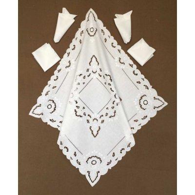 Σετ Καρέ λινό κοφτό με 4 πετσέτες 85x85 - DressingHome - RF1832/1215 | Καρέ - Τραπεζοκαρέ | DressingHome