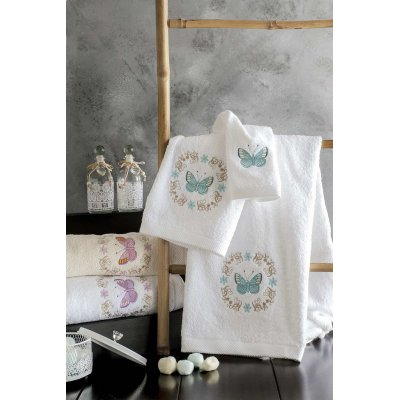 Σετ Πετσέτες 3 τμχ - Rythmos - Audete - Εκρού με ροζ σχέδιο | Πετσέτες | DressingHome