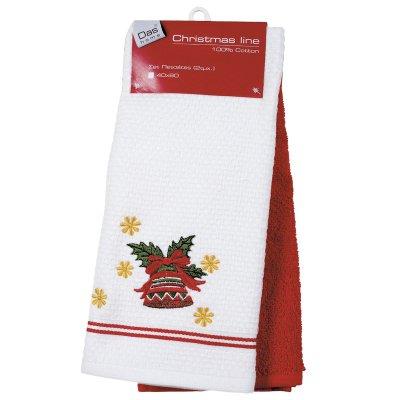 Σετ Ποτηρόπανα Χριστουγεννιάτικο 2 τμχ 40x60 - Das Home - 0585 - Christmas Kitchen Line | Ποτηρόπανα | DressingHome