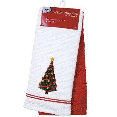 Σετ Ποτηρόπανα Χριστουγεννιάτικο 2 τμχ 40x60 - Das Home - 0587 - Christmas Kitchen Line   Ποτηρόπανα   DressingHome