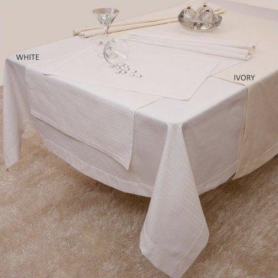 Σετ Ράνερ 2 τμχ 50x150 - AnnaRiska - Waterproof - Gina / White - Λευκό | Σεμέν - Ράνερ - Τραβέρσες | DressingHome