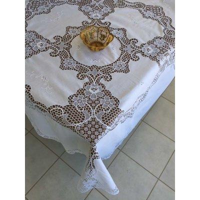 Σετ Ροτόντα λινή με βενίζ κεντητή με 8 πετσέτες φαγητού 170x170 - DressingHome - RO676W | Τραπεζομάντηλα | DressingHome
