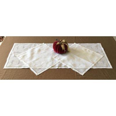 Σετ Σεμέν με αζούρ 3 τμχ λινό κεντητό 1(46x110) 2(40x40) - DressingHome - JA551111 | Σεμέν - Ράνερ - Τραβέρσες | DressingHome