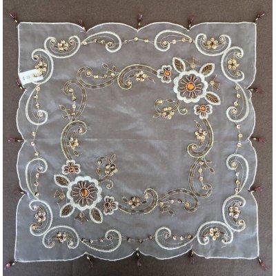 Σετ Τραπεζοκαρέ 5 τμχ Ινδικό με χάντρες 1(125x125) 1(85x85) 1(44x110) 2(50x50) - DressingHome - 805XA-12 | Καρέ - Τραπεζοκαρέ | DressingHome