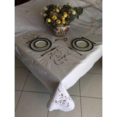 Σετ Τραπεζομάντηλο κοφτό κεντητό με 12 πετσέτες 170x260 - DressingHome - E2094 | Τραπεζομάντηλα | DressingHome