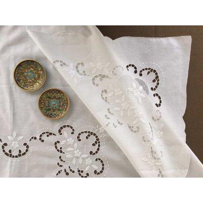 Σετ Τραπεζομάντηλο λινό κεντητό με 8 πετσέτες 170x215 - DressingHome - HY-1146 | Τραπεζομάντηλα | DressingHome