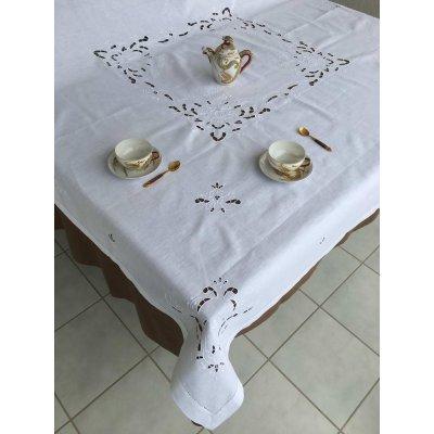 Σετ Τραπεζομάντηλο Με αζούρ λινό κεντητό με 12 πετσέτες 175x260 - DressingHome - 95K-844 | Τραπεζομάντηλα | DressingHome