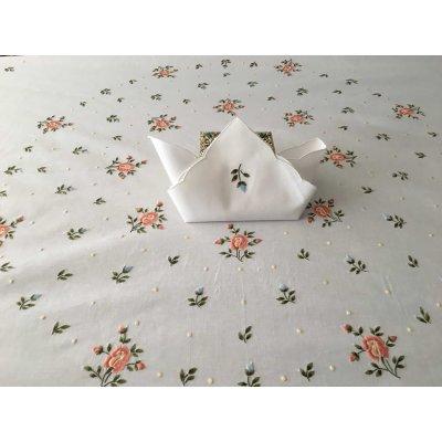 Σετ Τραπεζομάντηλο Ροτόντα κεντητό ανεβατό με 8 πετσέτες 170x170 - DressingHome - E1915A | Τραπεζομάντηλα | DressingHome